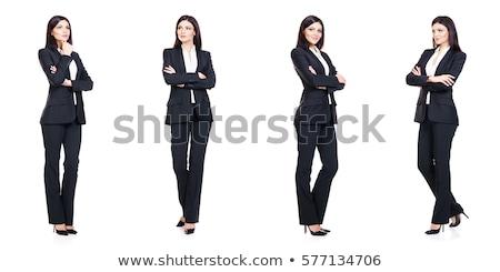 bella · bruna · donna · d'affari · piedi · abito · nero · grigio - foto d'archivio © deandrobot