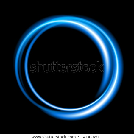 Abstract Blauw swirl cirkel logo zwarte Stockfoto © saicle