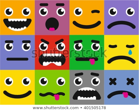 Stok fotoğraf: Set Square Emoticons With Different Emotions Vector Illustration