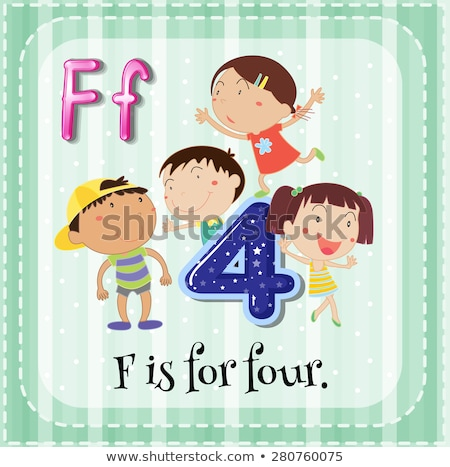 Flashcard letter F is for four Stock photo © bluering