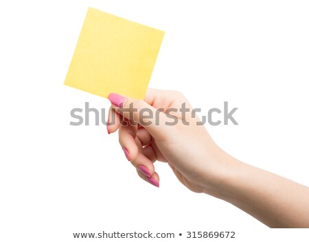 Kéz nő tart öntapadó jegyzet üres hely iroda Stock fotó © Novic
