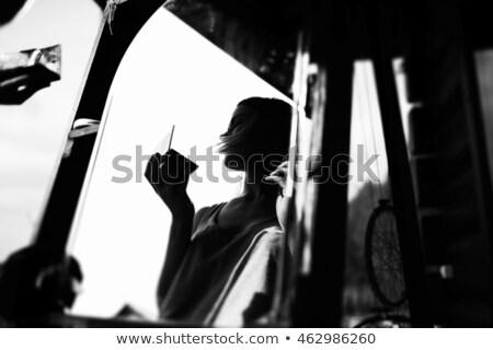 肖像 · 幸せ · 美少女 · 長い · 光 · 茶色の髪 - ストックフォト © ssuaphoto