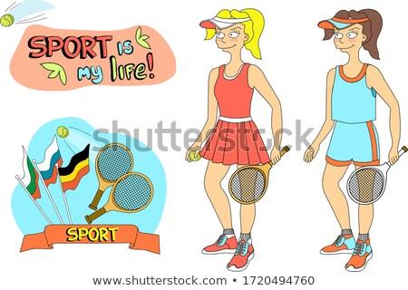 Gyönyörű teniszező teniszpálya tapéta lány nők Stock fotó © carodi