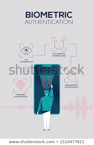 Man using iris scanner to unlock mobile phone. Stock photo © RAStudio
