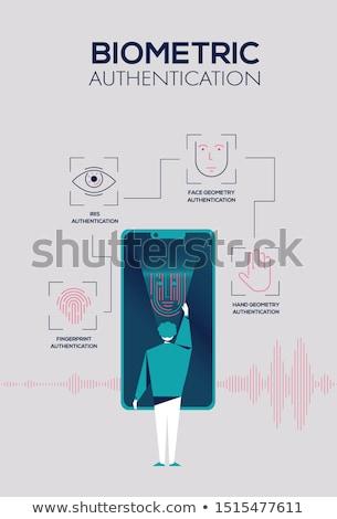 uomo · Iris · scanner · cellulare · sorridere · Smart - foto d'archivio © rastudio