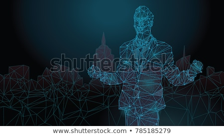 digital wireframe mesh vector background in technology network s Stock photo © SArts