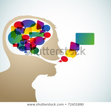 Abstract speaker silhouette with bubbles Stock photo © orson