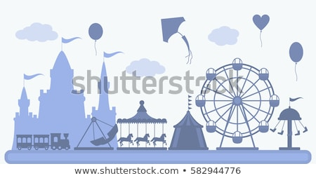 vector flat style set of amusement park fun icons stock photo © curiosity