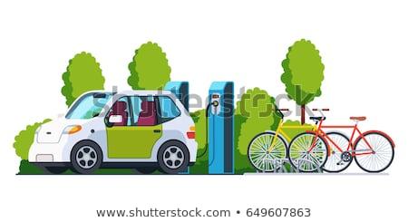 Vector stijl illustratie elektrische auto stad vervoer Stockfoto © curiosity