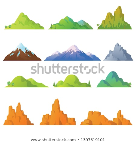 Vector cartoon style background with rocky mountains Stock photo © curiosity