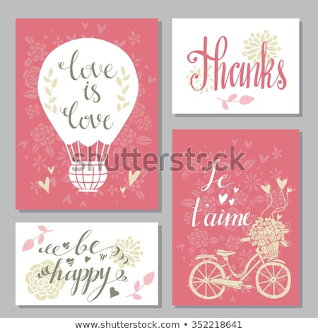 Vintage wedding bicycle with heart baloon and flowers Valentines Stock photo © NikoDzhi
