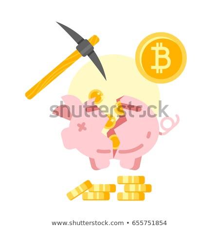 Quebrado piggy bank dourado vetor estilo ilustração Foto stock © curiosity