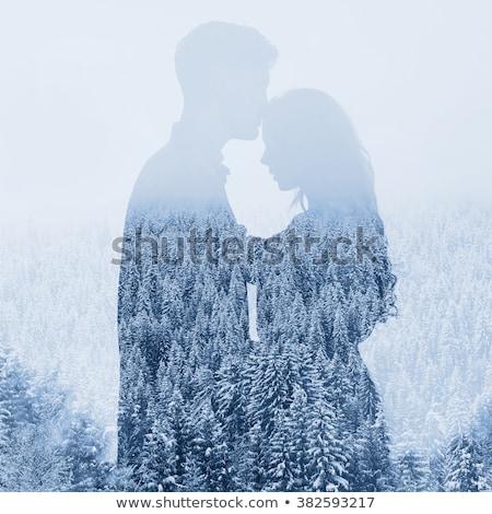 Fotó gyönyörű pár hegyek férfi nő Stock fotó © tekso
