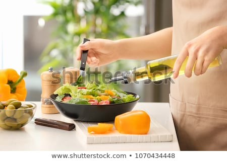 Olive oil pouring on spoon Stock photo © wavebreak_media