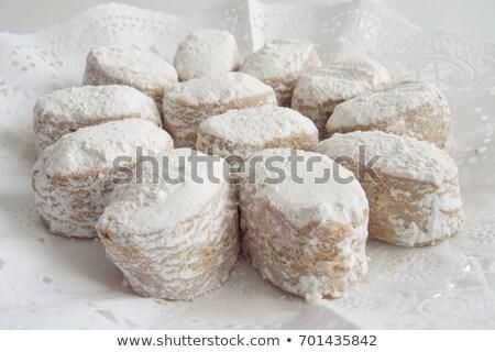 Pierwszy plan tradycyjny biały cookie taca tle Zdjęcia stock © Imaagio
