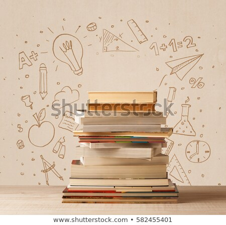 Apple on books with Back to School lettering Stock photo © Sonya_illustrations