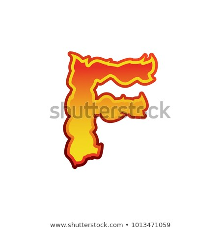 Letter F fire. Flames font lettering. Tattoo alphabet character. Stock photo © popaukropa