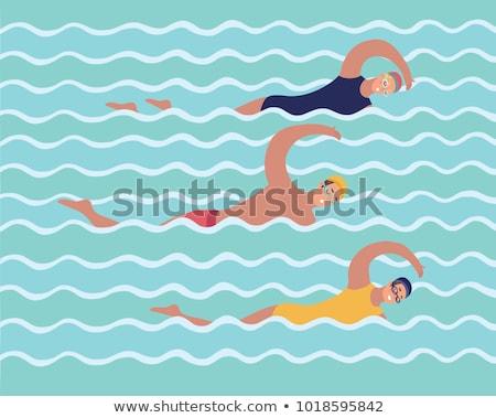 joven · borde · piscina · sexy · fitness - foto stock © deandrobot