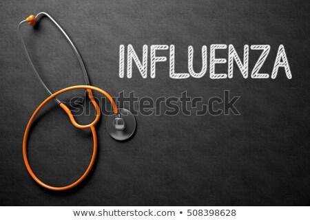 Tafel Grippe Impfung 3D-Darstellung medizinischen schwarz Stock foto © tashatuvango