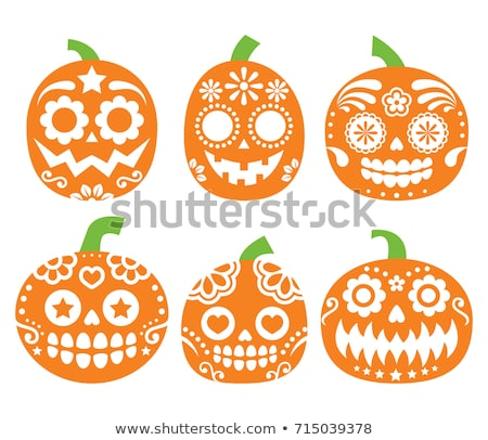 cartoon · halloween · visage · citrouille · blanche · style - photo stock © redkoala