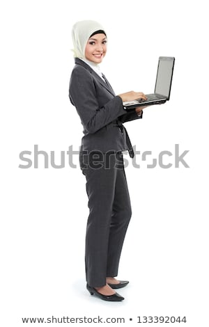 Muçulmano mulher de negócios trabalhando global de negócios em pé Foto stock © RAStudio
