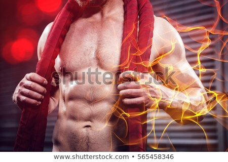 Stock photo: Shirtless man with battle rope around neck
