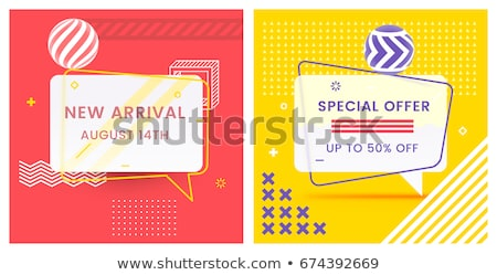 offers and sale geometric banners set in memphis style Stock photo © SArts