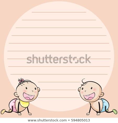 Vonal papír sablon kettő gyermekek illusztráció Stock fotó © colematt