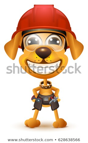 labor day yellow dog builder in protective helmet smile stock photo © orensila