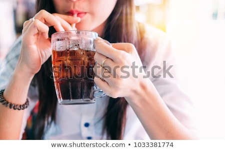 Stock photo: asian woman with soda drink