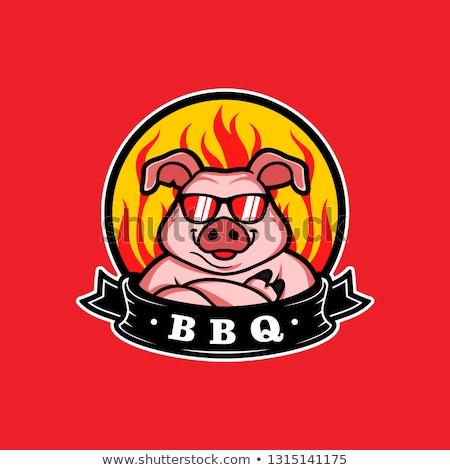 Sevimli karikatür domuz karakter maskot örnek Stok fotoğraf © Krisdog