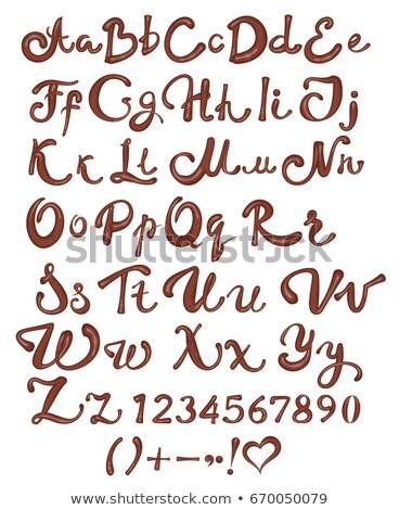 Chocolate English alphabet. Brown handwritten letters and numbers on white background Stock photo © orensila