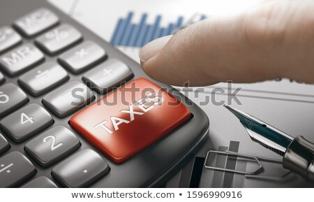 Stock photo: Hand Finger Press Earnings Calculation Key. 3D.
