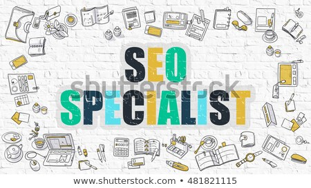 multicolor seo on white brickwall doodle style stock photo © tashatuvango