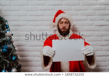 Hand lege kaart ingericht kerstboom marketing Stockfoto © feverpitch