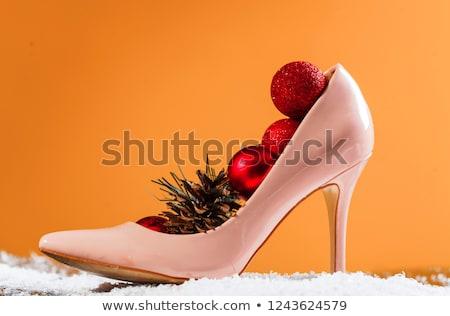 пятка обувь Рождества вечеринка вечнозеленый Сток-фото © neirfy