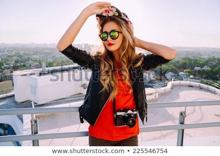 ストックフォト: 少女 · サングラス · ジャケット · 化粧 · 顔 · 女性