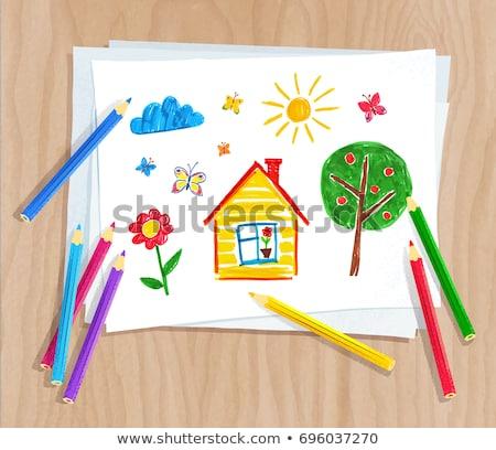 Color lápices papel nino dibujo superior Foto stock © Sonya_illustrations