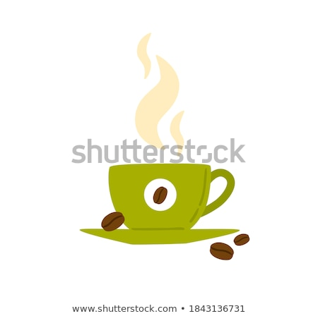 White Cup on Saucer with Americano Flat Vector Stock photo © robuart