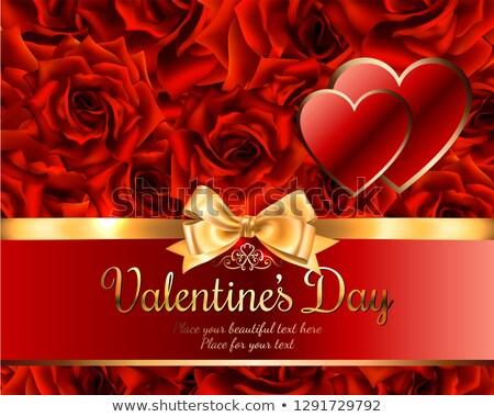 Rosa vermelha buquê dois forma de coração modelo cartão Foto stock © orensila