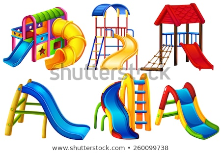 Many kids playing slide in the park Stock photo © bluering