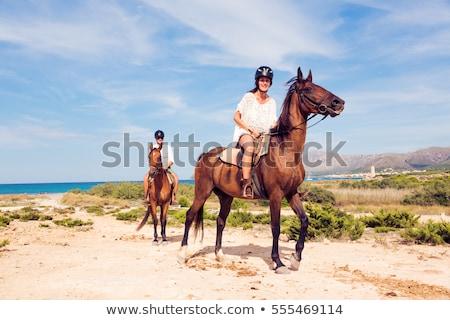 Két nő lovaglás lovak tengerpart nő természet Stock fotó © IS2