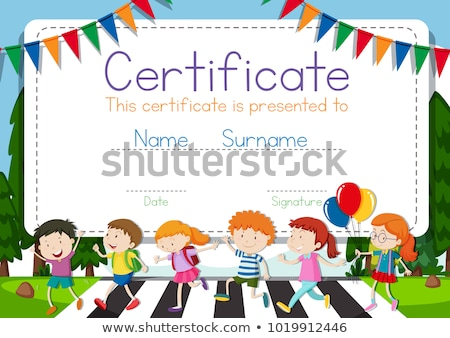 Certificate template with children crossing road background Stock photo © bluering
