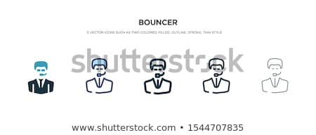 Stock photo: Female Bodyguard. Strong Woman guard at  nightclub. Black suit a