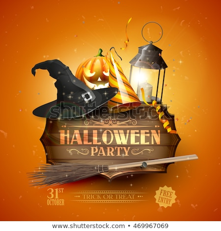 Modern Halloween card with old hat and pumpkins on orange background Stock photo © Natali_Brill