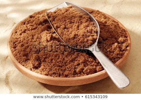 Esmer şeker ahşap çanak beyaz enerji pişirme Stok fotoğraf © bdspn