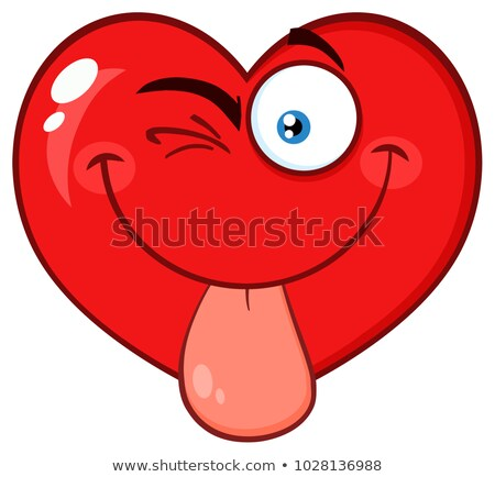 Red Heart Cartoon Emoji Face Character Sticking His Tongue Out Stock photo © hittoon