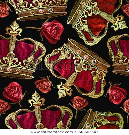 бесшовный вектора золото шаблон царя дизайна Сток-фото © FoxysGraphic