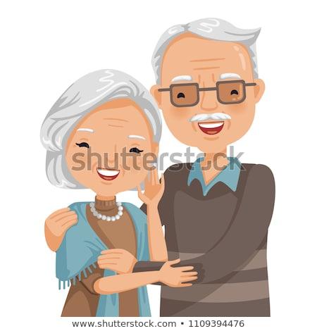 старые бабушки деда белые волосы свитер брюки Сток-фото © robuart