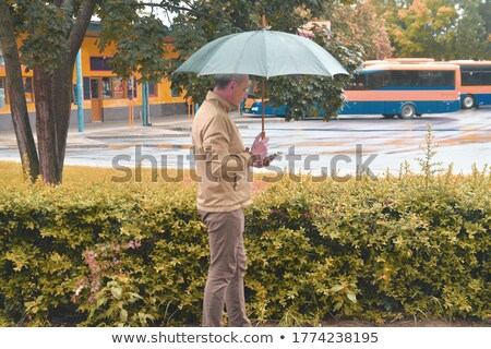 Man using smartphone outdoor on rainy night Stock photo © stevanovicigor
